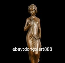 47 CM Western Art Deco Bronze Women Girl Belle Fair Maiden Pick Flower Sculpture