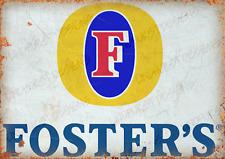 More details for fosters lager vintage metal sign metal pub bar man cave beer plaque party garage
