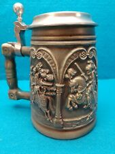 W. Germany FOUR KNIGHTS ON HORSEBACK Ceramic & Pewter Beer Stein #1125 ~Green
