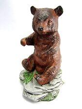 Vintage Bear Figurine Handmade Ceramic Made in USA Wild Animal Statue Decor