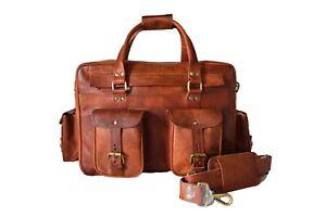 Vintage Leather Briefcase Messenger Bag Laptop Satchel Pilot Bag Flight Handbag