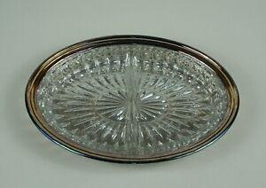 "Oneida Ridgewood Oval Gallery Tray 10 3/4"" Silverplate with Glass Liner NIB"