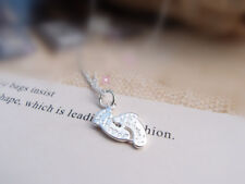 Shiny 925 Sterling Silver PL Foot Print Charm Pendant Necklace Women Girls Gift