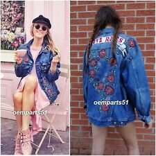 ZARA BLUE DENIM  OVERSIZED JACKET WITH EMBROIDERY AND BEAD DETAILS SIZE XS