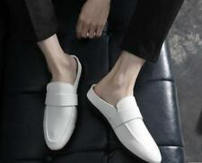 Mens Faux Leather Round Toe Flats Mules Slippers Breathable Slip On Shoes E511