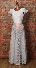 Genuine Vintage Wedding Dress Gown 80s Retro Victorian Edwardian Style UK 6/8