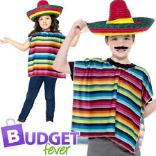 Kids Poncho and Sombrero Childs Multicoloured Mexican Fancy Dress Smiffys 44095