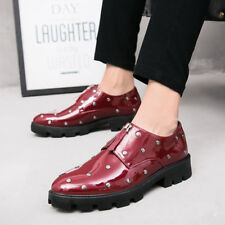 Mens Studded Zip Up Patent Leather Formal Printed Oxford Low Top Chunky Shoes