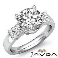 1.6ct Round Diamond Engagement 3 Stone Bar Set Ring GIA F VVS2 14k White Gold