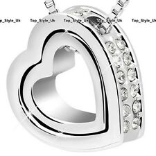 Double Heart Crystal Diamond Necklace Silver Xmas Gifts for Her Women Girls C3