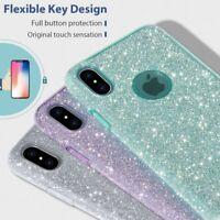 For iPhone Xs Max XR 7 8 Plus Hybrid Shockproof Bling Glitter Bumper Case Cover