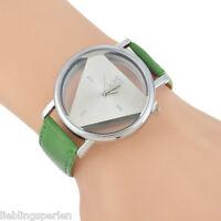L/P 1 Damen Uhr Armbanduhr Quarzuhr Analoguhr Dreieck Geschenk Dunkelgrün Mode
