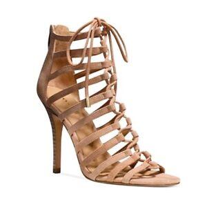 New ($245) Coach Salvadora Suede Lace-Up Natural Heels Authentic NIB 9 9.5 11