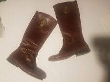 Tory Burch Teresa Coconut riding boot zipper leather 9.5 logo brown gold