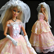 Nice 'WEDDING COLLECTION'-Barbie Doll Long princes Dress (No.10) for xmas Gift