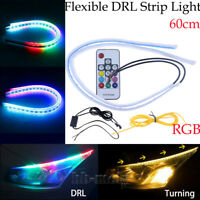 2x 60CM Car RGB Flexible Soft LED Tube DRL Strip Light Headlight Sequential 12V
