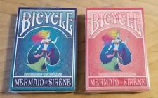 LOT of 2 Decks of Limited Edition Bicycle Playing Cards With Mermaid Design