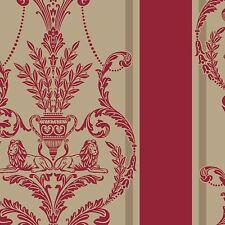 LUXURY LEONARDO FLOCK DAMASK WALLPAPER VELVET REGAL RED GOLD - ARTHOUSE 952003