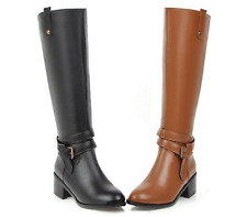 Block Heels Ladies Knee High Boots Buckle Strap Zipper Autumn Casual Shoes Size