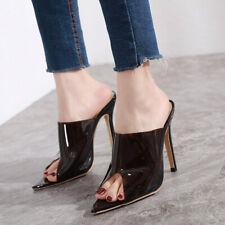 Womens Sexy Black Pointed Peep Toe Slippers High Heels Stilettos Fashion Sandals