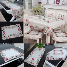 Embroidered Tablecloth Flower Hollow Coffee Table Cloth Doily Satin Cover Gift