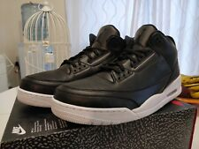 NIKE JORDAN 3 III RETRO QS DS RARE OG BLACK LEATHER V IV XI VI GIFT  KOBE UK15