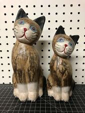 Pair Of Cat Figurines Sculptures Wood Hand Painted 9.5� & 8�