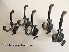 Double Coat Hook Iron Antique Modern Vintage Black Grey Hat Rack Addison Set 5