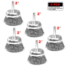 2'' Crimped Steel Wire Cup Brush 5pcs with 1/4 in Shank For Power Drill 5XTH008