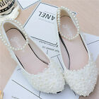 White LAUl Floral Pearl Lace Strap Bridal Wedding Shoe High Heels Flat zzbd