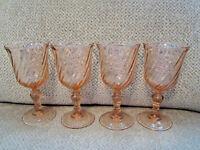 "Set of 4 Arcoroc Luminarc France pink Rosaline swirl glass water goblets 6.5"""