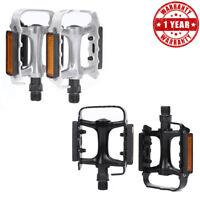 MTB Bike Pedals Bicycle Pedal Flat Aluminum Alloy Parts Ultra-light w/ Reflector