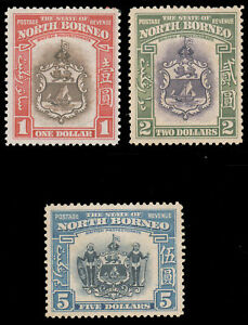 NORTH BORNEO 1939 $1-$5 COAT-OF-ARMS MINT #205-07 first two LH last one MHR $542