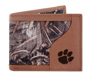 Clemson Tigers Bifold Realtree Max-5 Camo & Leather Wallet w/ Embossed Logo NCAA