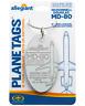 Aluminium Anhänger aus McDonell Douglas MD-80  / Planetags NEU N892GA Limitiert