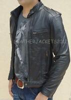Mens Biker Style Black Leather Jacket Genuine Leather Slim Fit St01
