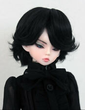 "1/4 bjd 7-8"" doll wig black color short synthetic mohair dollfie luts Iplehouse"