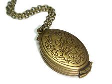 Bronze Folding Locket Memory Necklace Folder Photo Charm Folding Pendant Gift