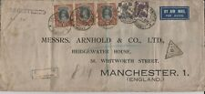 1942 Bombay India Censor Registered Airmail to Manchester, Great Britain