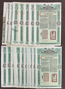 26 x Imperial CHINA Government Tientsin-Pukow £100 Uncancelled Bond W Coupons