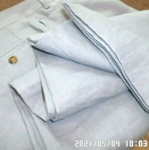 RALPH LAUREN mens 100% LINEN dress pants BABY BLUE FLAT FRONT SIZE 40 - NEW