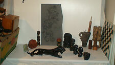 VINT. GOLD SHEEN OBSIDIAN MAYAN MEXICO AZTEC VOLCANIC GLASS SLATE GOD CARVINGS