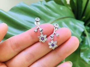 """Pandora """"Retired"""" Forget Me Not Drop Sterling Silver Earrings *Free Shipping*"""