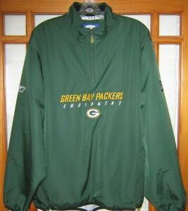 Vintage Reebok NFL Green Bay Packers Pullover Jacket Men's Medium Green