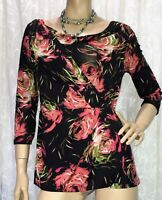 LIZ JORDAN SIZE S FIXED WRAP FLORAL TOP