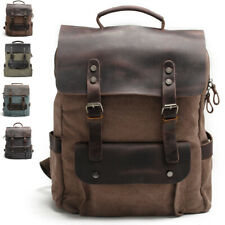 "Vintage Real Leather Canvas Backpack Rucksack Satchel 15"" Laptop Bag Travel"