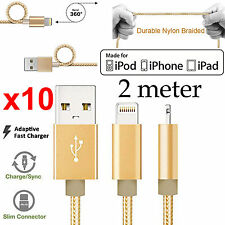 x10 2m Apple iPhone 6 7 SE iPad Air Pro braided Strong Fast data charger cable