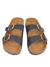 New Women Birken Style Double Gold Buckle Straps Sandals Black Size 10