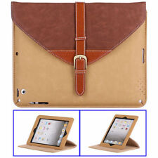 ETUI PORTE TABLETTE A RABAT iPAD 2 3 4 CARTABLE MARRON & BEIGE ECO-CUIR (PU)