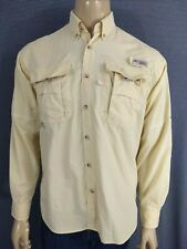 Columbia Pfg Fishing Shirt Men Small Long Sleeve Chiffon Yellow Mesh Lined Nylon